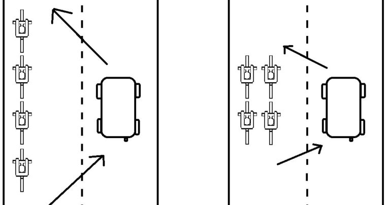 Bia Club diagram showing how to ride along side cars on a road